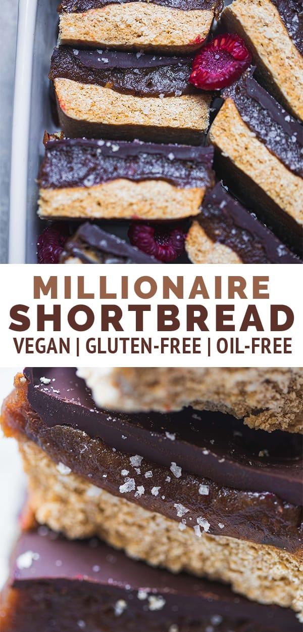 Vegan millionaire shortbread gluten-free oil-free
