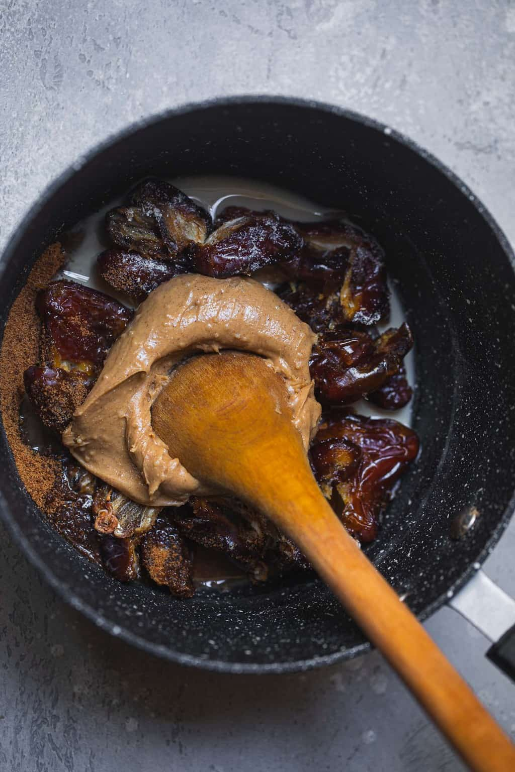 Vegan salted caramel ingredients in a saucepan