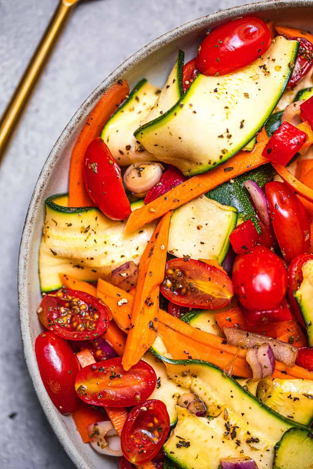 Zucchini sweet potato salad oil-free