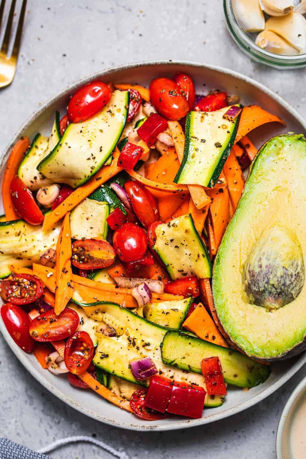 Zucchini sweet potato salad vegan gluten-free oil-free
