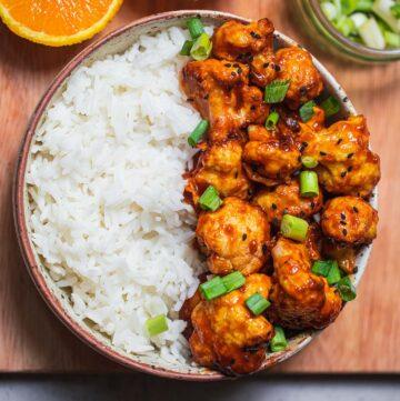 Baked vegan orange cauliflower gluten-free oil-free