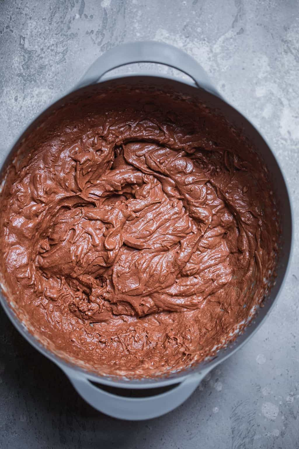 Chocolate aquafaba mousse in a mixing bowl