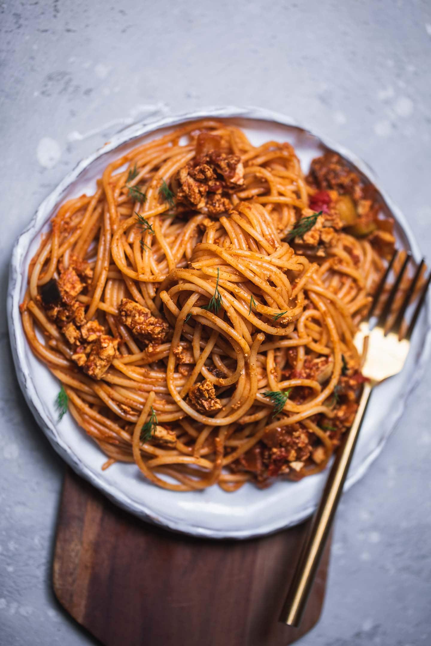 Vegan smoky eggplant pasta gluten-free