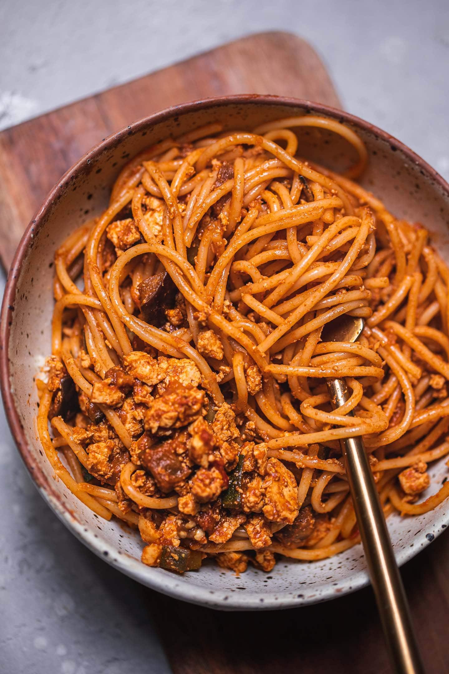 Tomato sauce pasta in a bowl