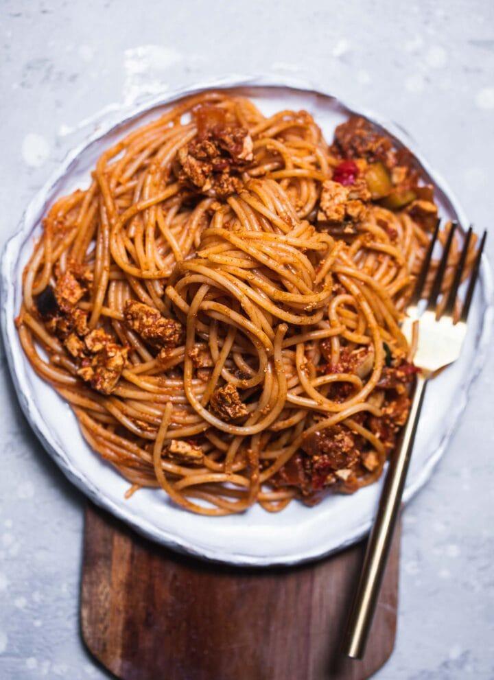 Vegan smoky eggpant pasta gluten-free