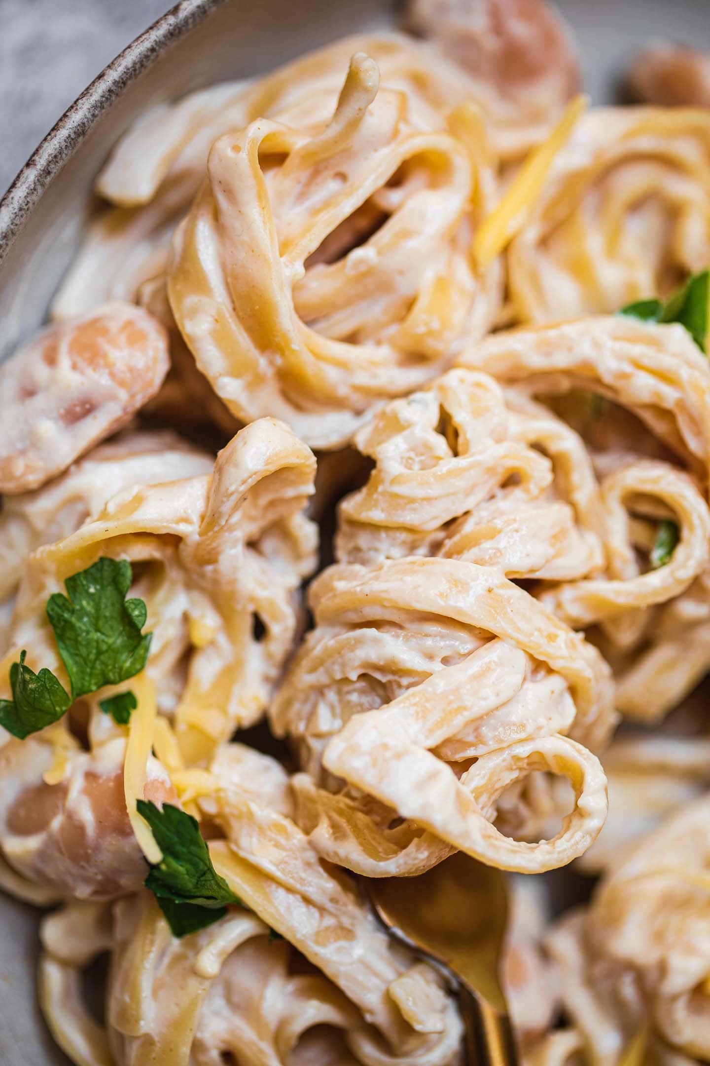 Vegan tahini garlic pasta gluten-free oil-free