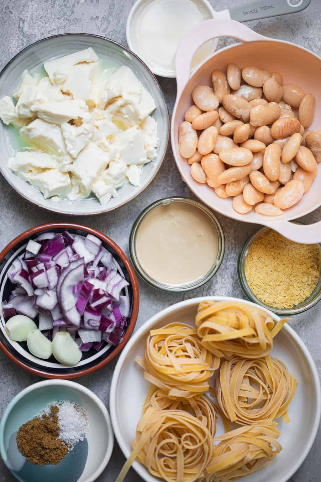 Vegan garlic tahini pasta ingredients