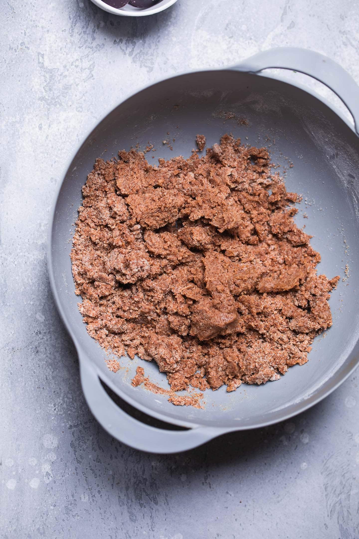 Vegan cookie dough in a mixing bowl