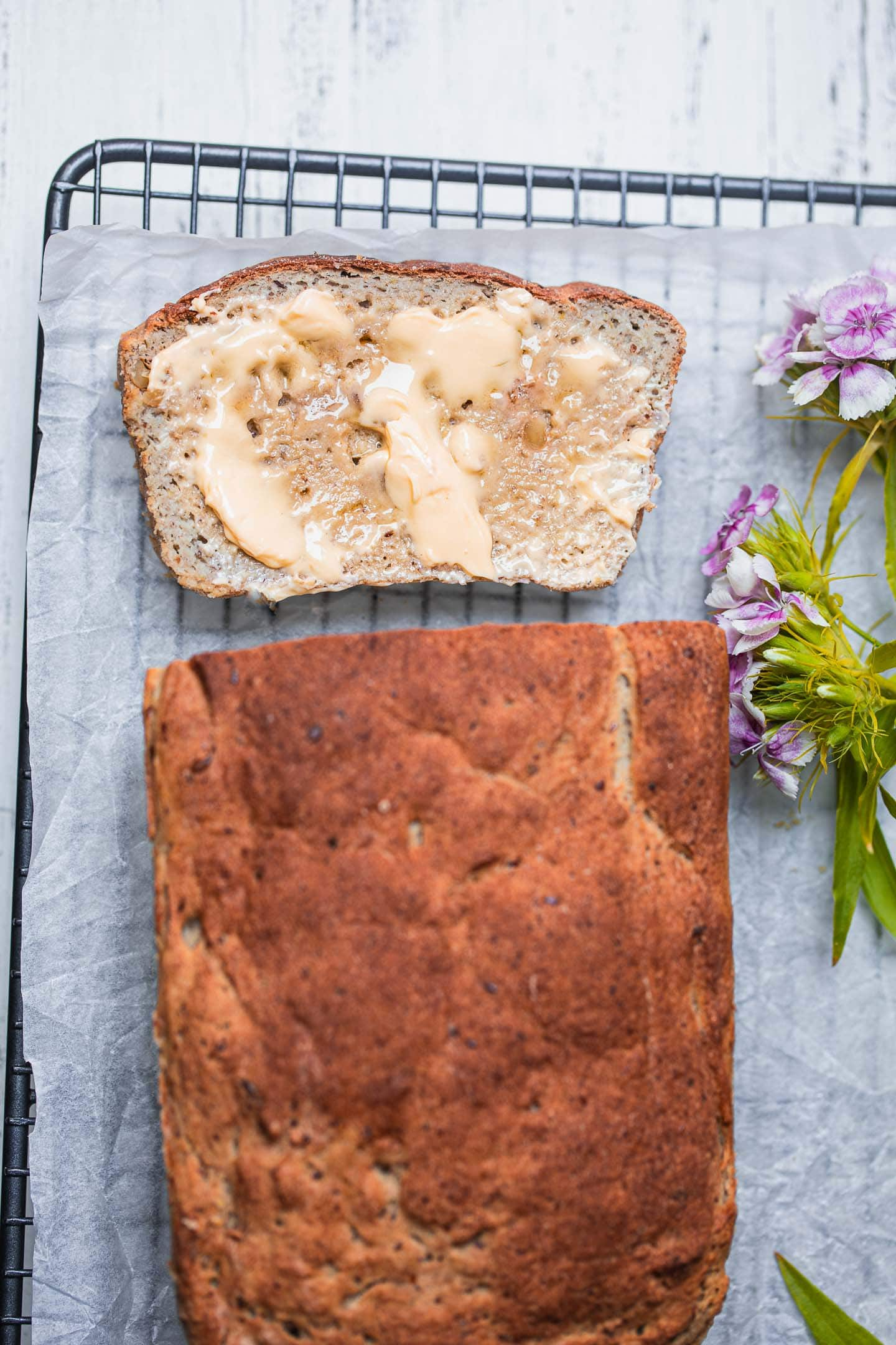 Gluten-free vegan bread with walnuts