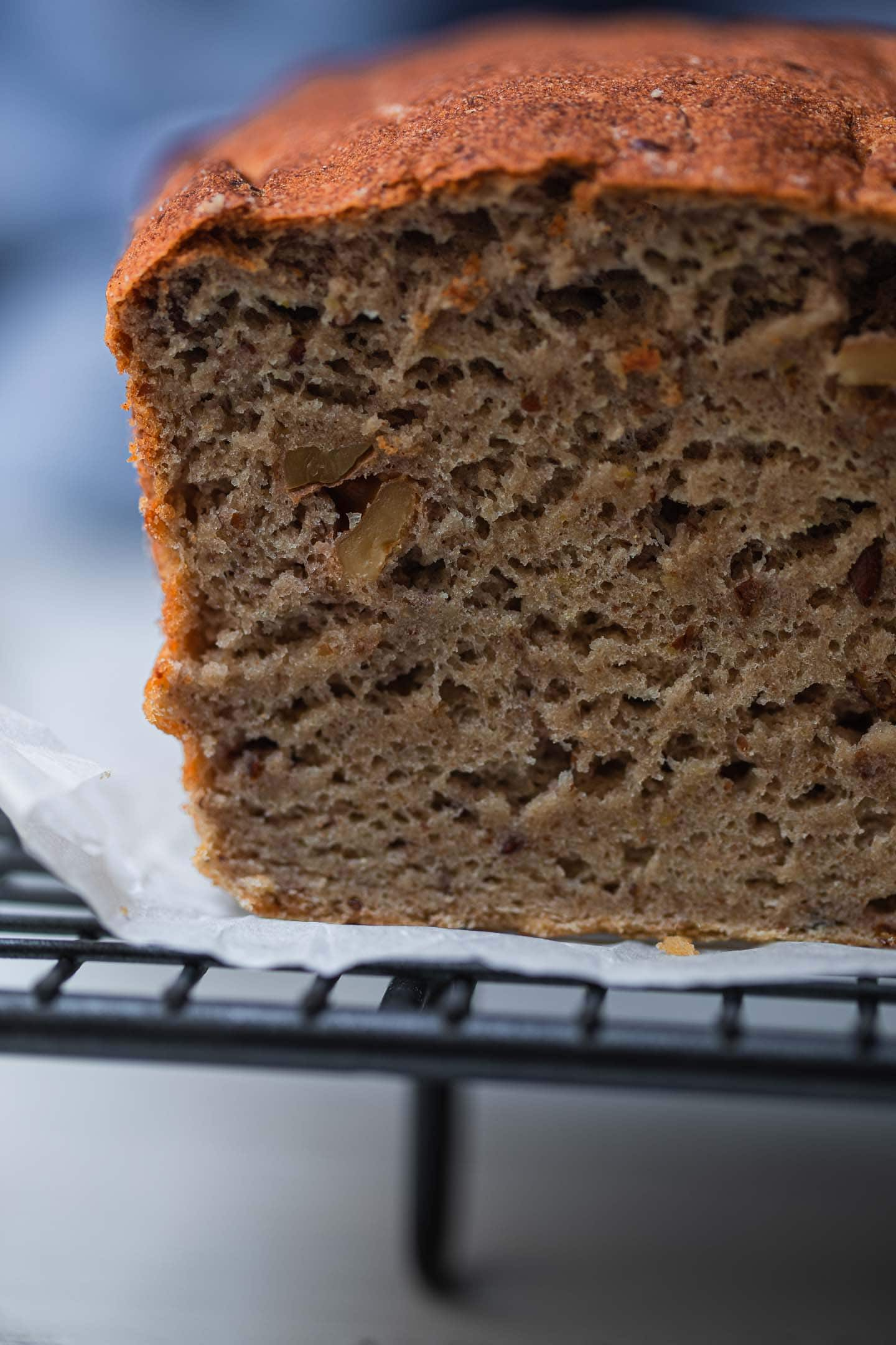 Closeup of vegan walnut bread