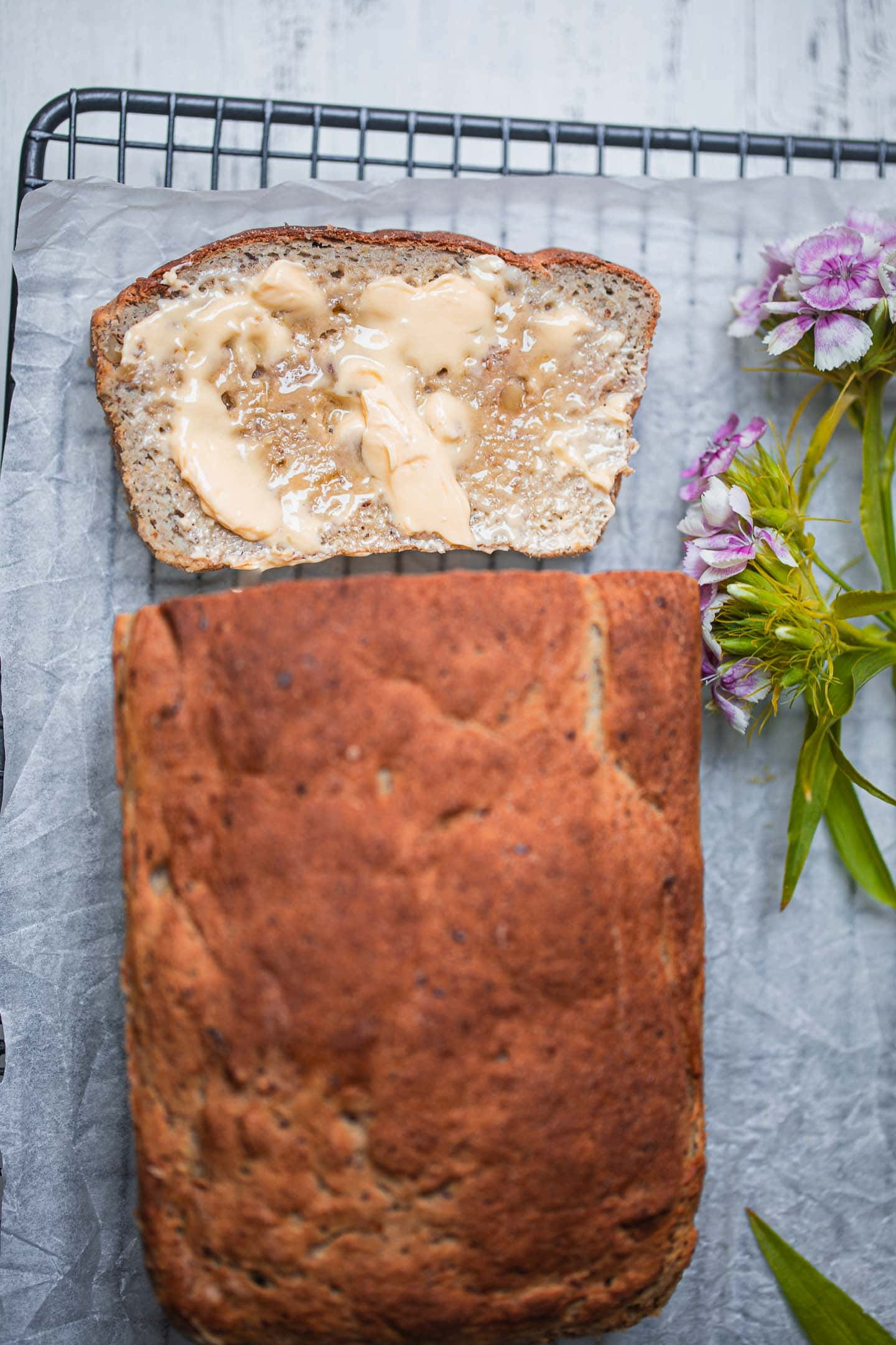 Loaf of vegan bread with vegan butter