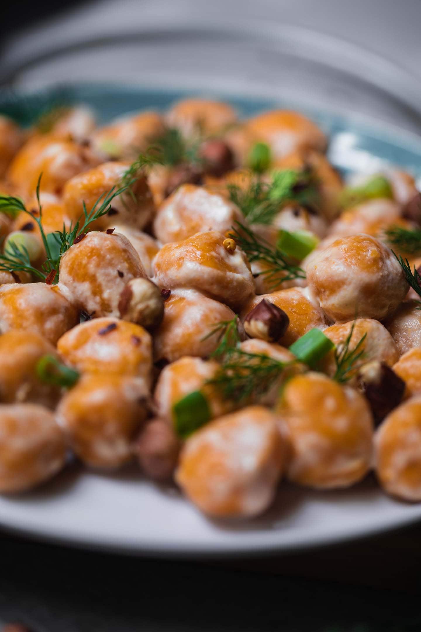 Sweet potato gnocchi on a white plate