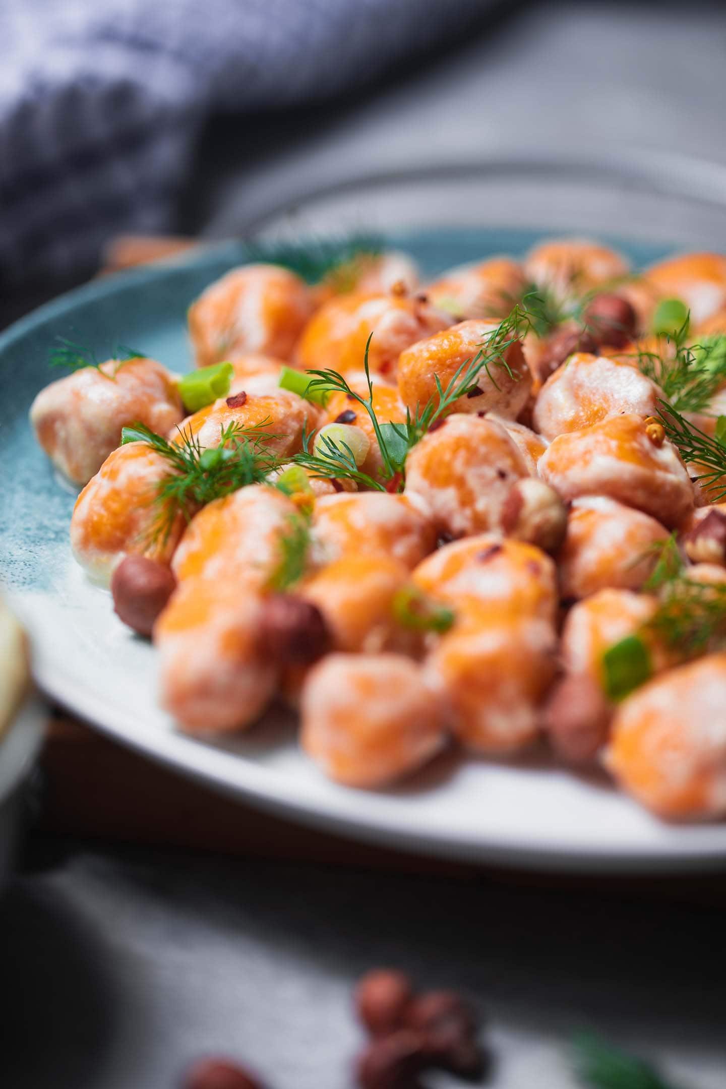 Gluten-free vegan gnocchi with soured cream
