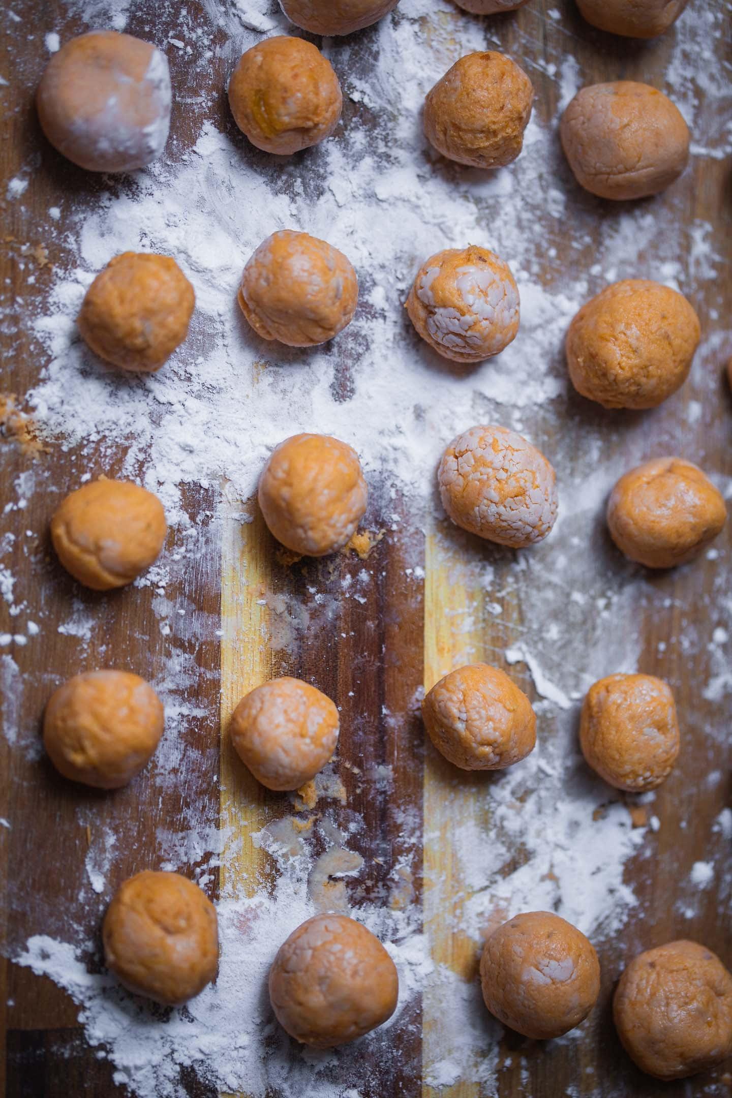 Sweet potato gnocchi on a chopping board