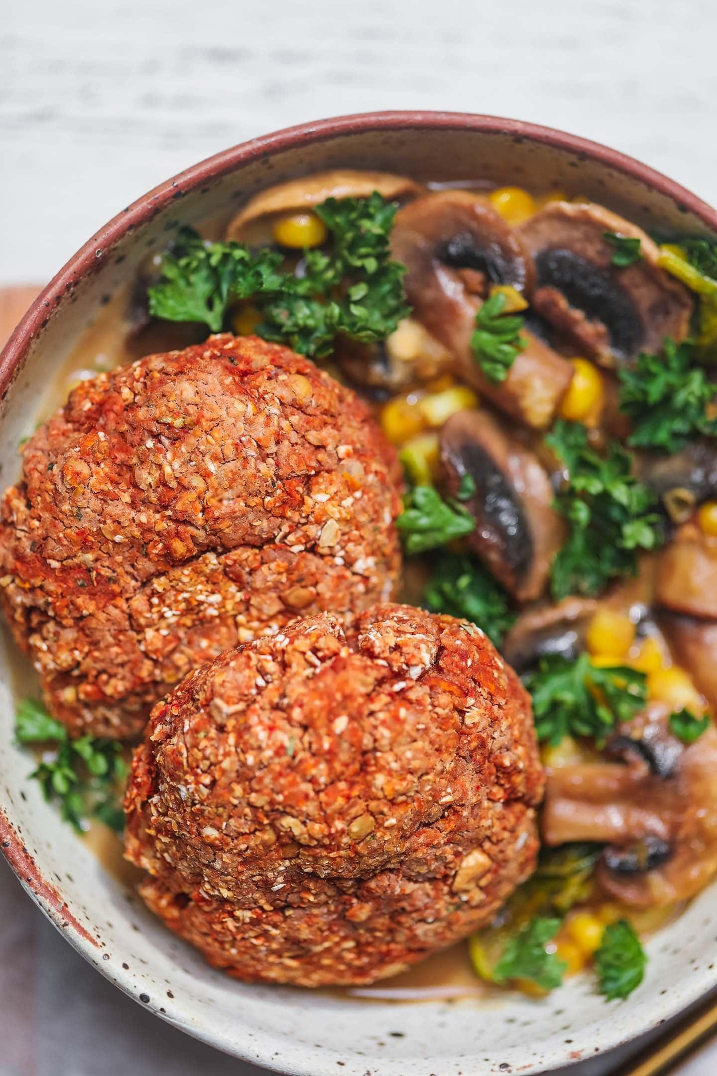 Vegan lentil burgers gluten-free oil-free