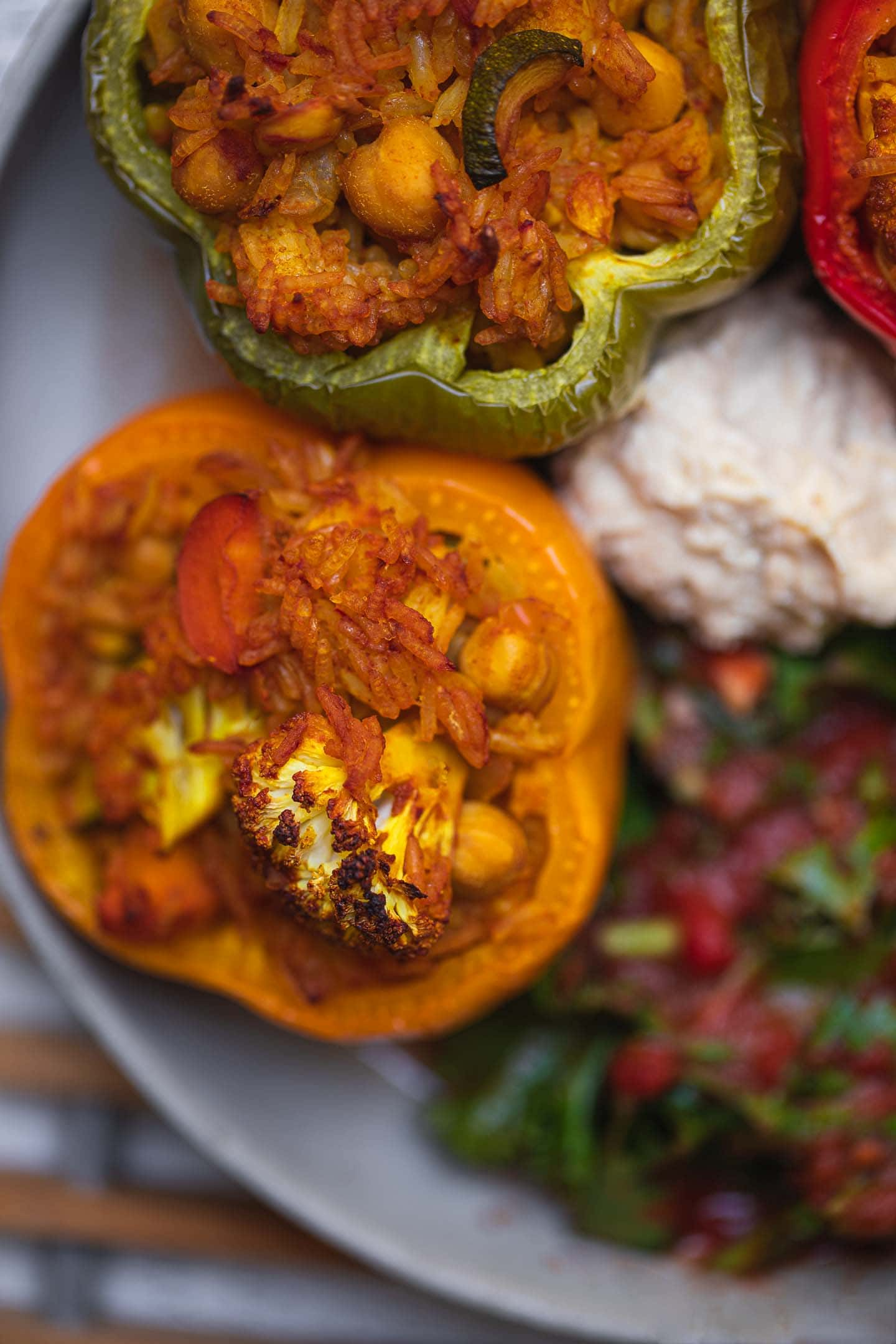 Closeup of stuffed peppers with chickpeas and cauliflower
