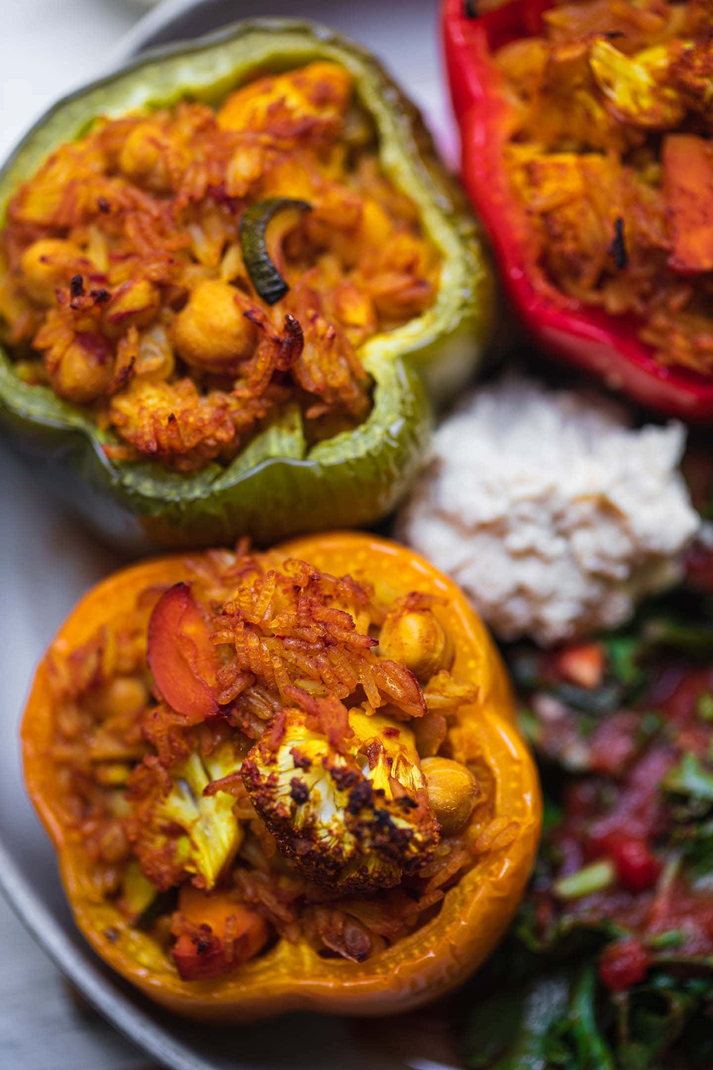 Chickpea and cauliflower vegan stuffed peppers