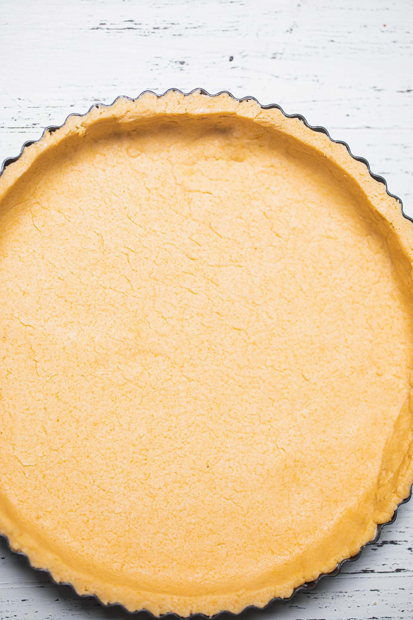 Gluten-free vegan pie crust in a pie tin