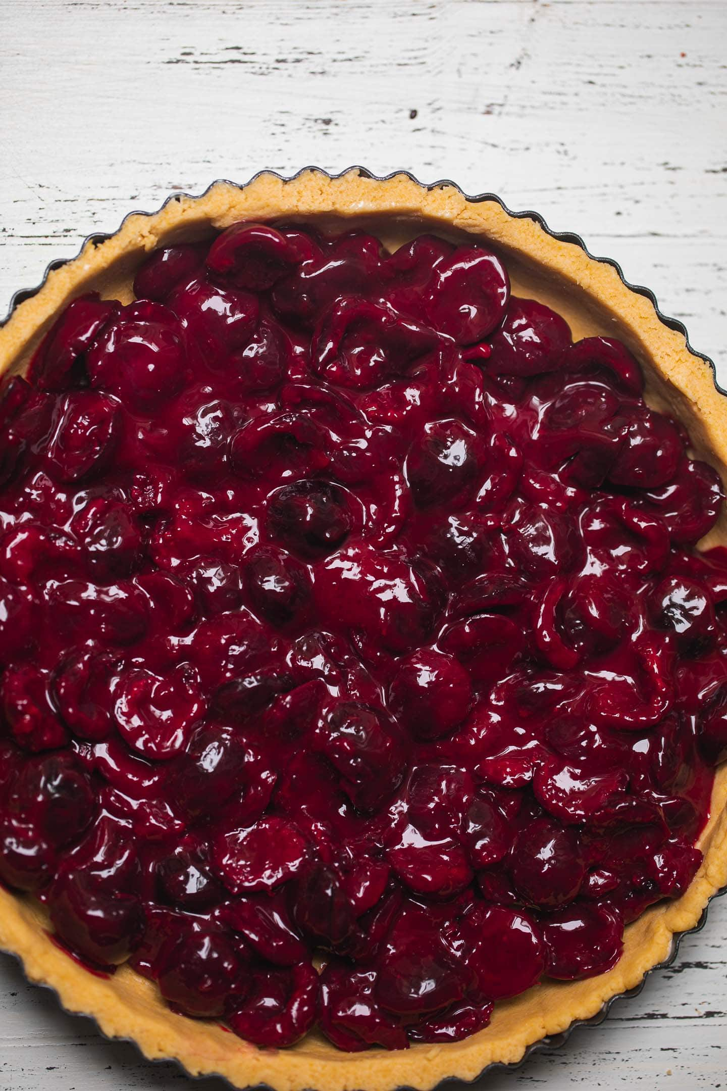 Vegan cherry pie in a crust