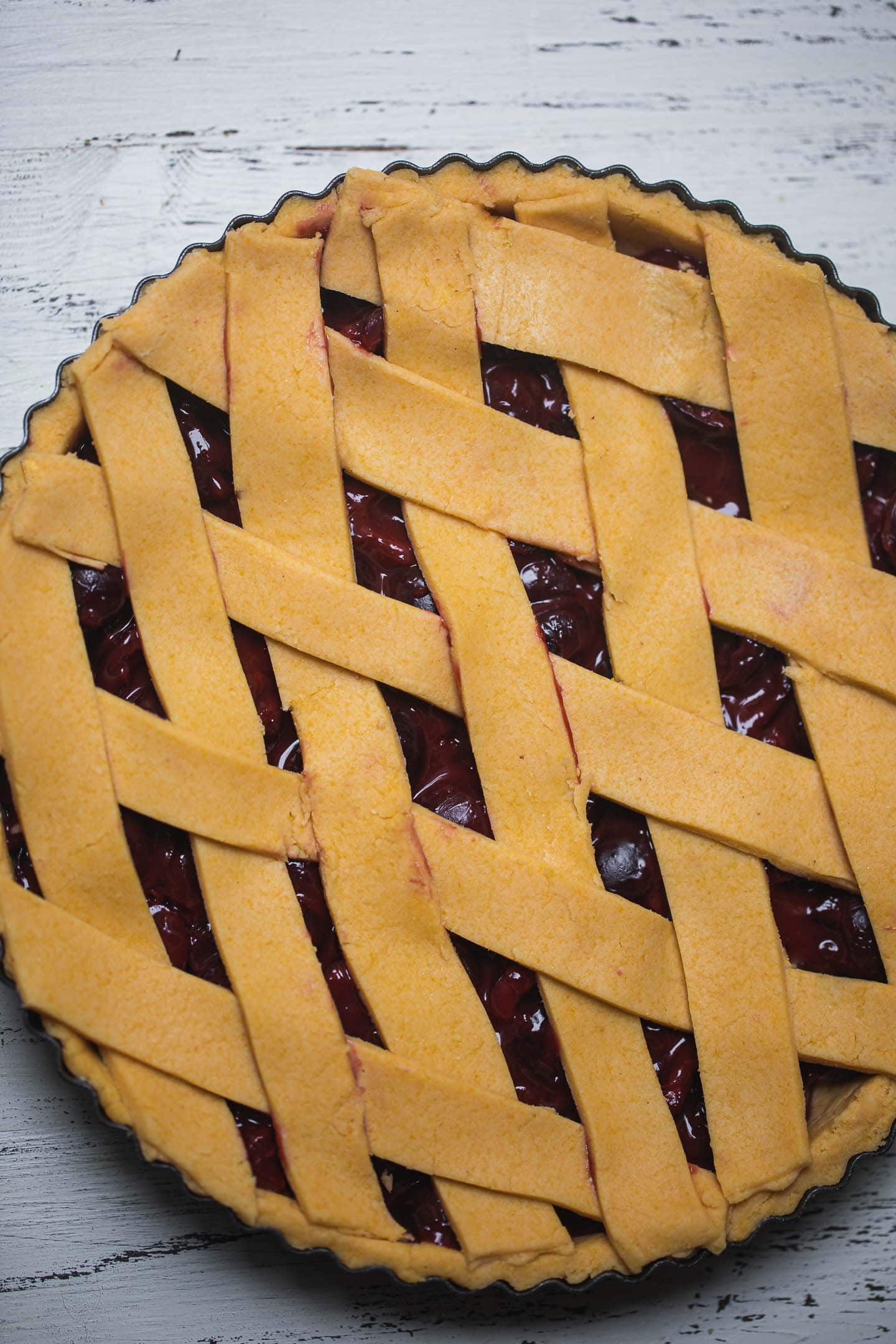 Vegan cherry pie before baking