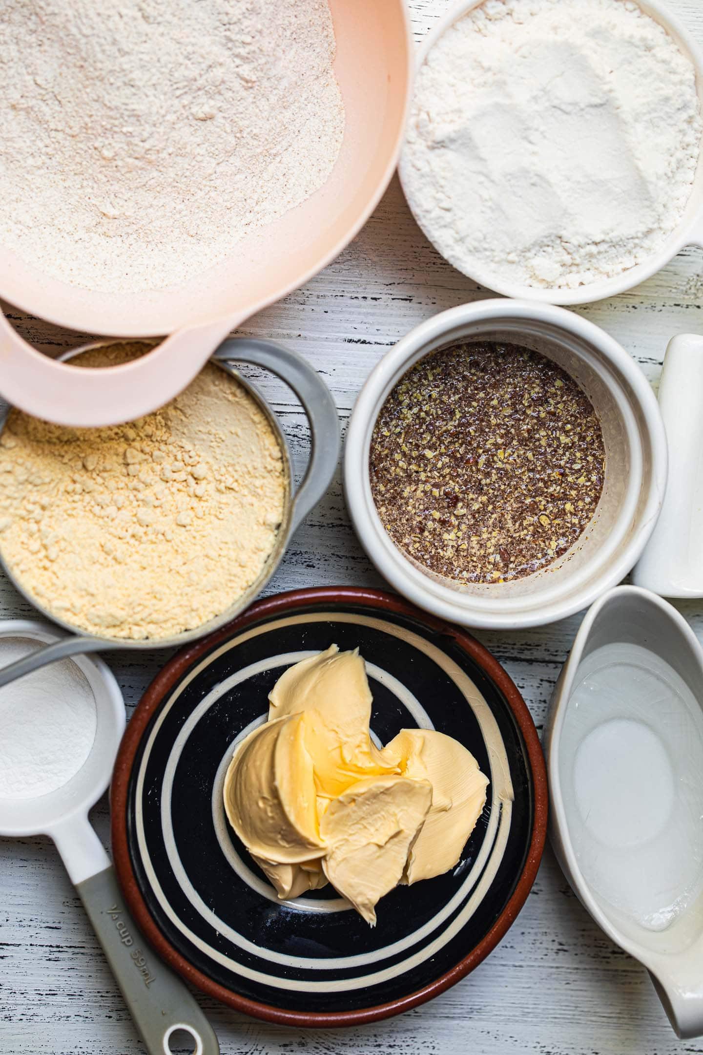 Ingredients for a gluten-free vegan quiche crust