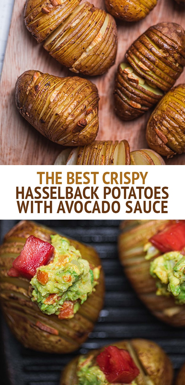 The best crispy hasselback potatoes with avocado sauce