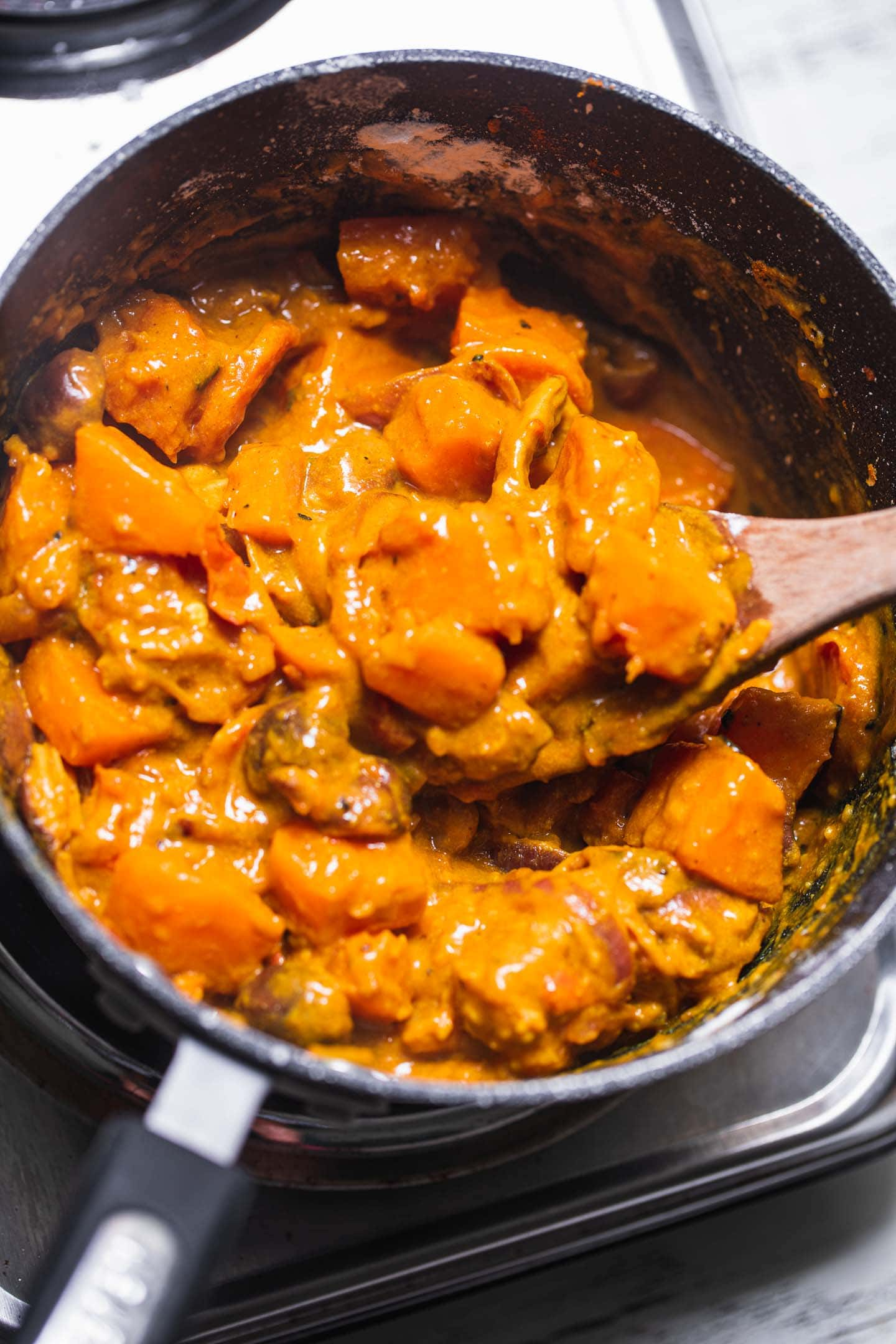 Butternut squash pot pie filling in a saucepan