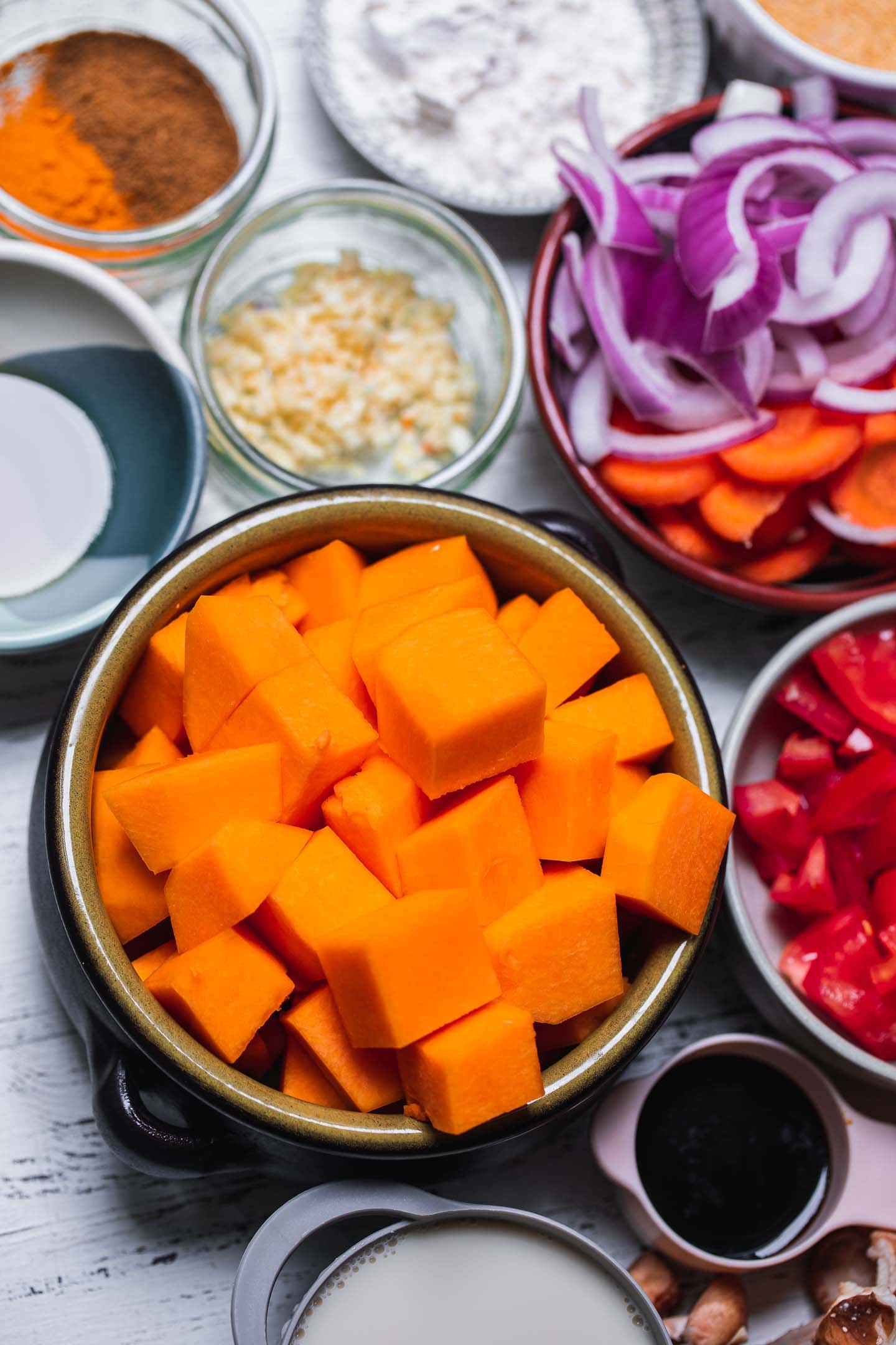Ingredients for a butternut squash pot pie filling