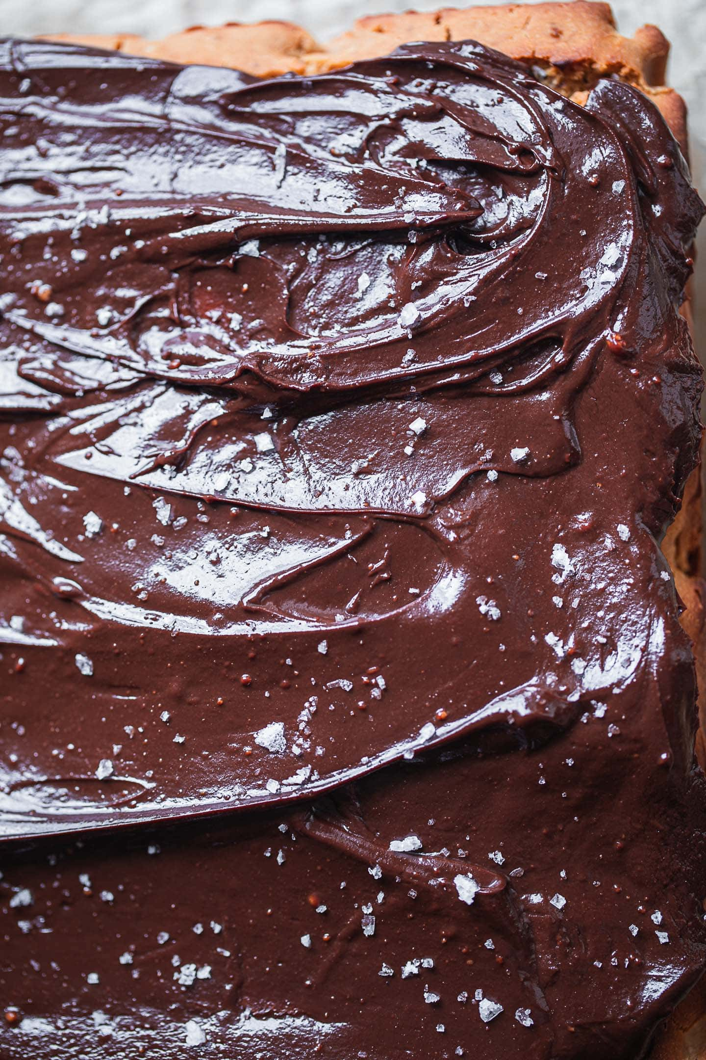 Closeup of a vegan cake with chocolate glaze