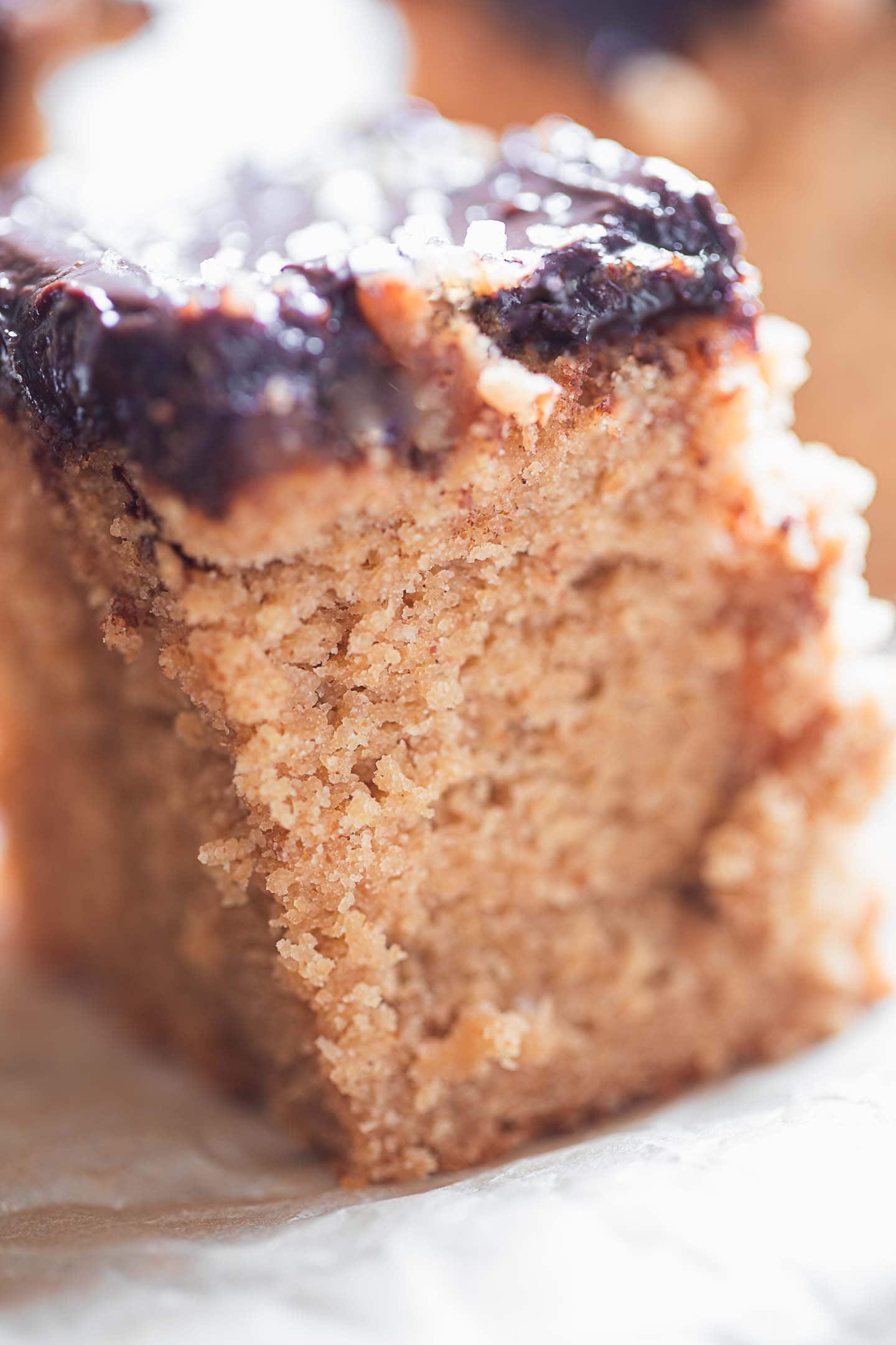 Closeup of vegan peanut butter cake