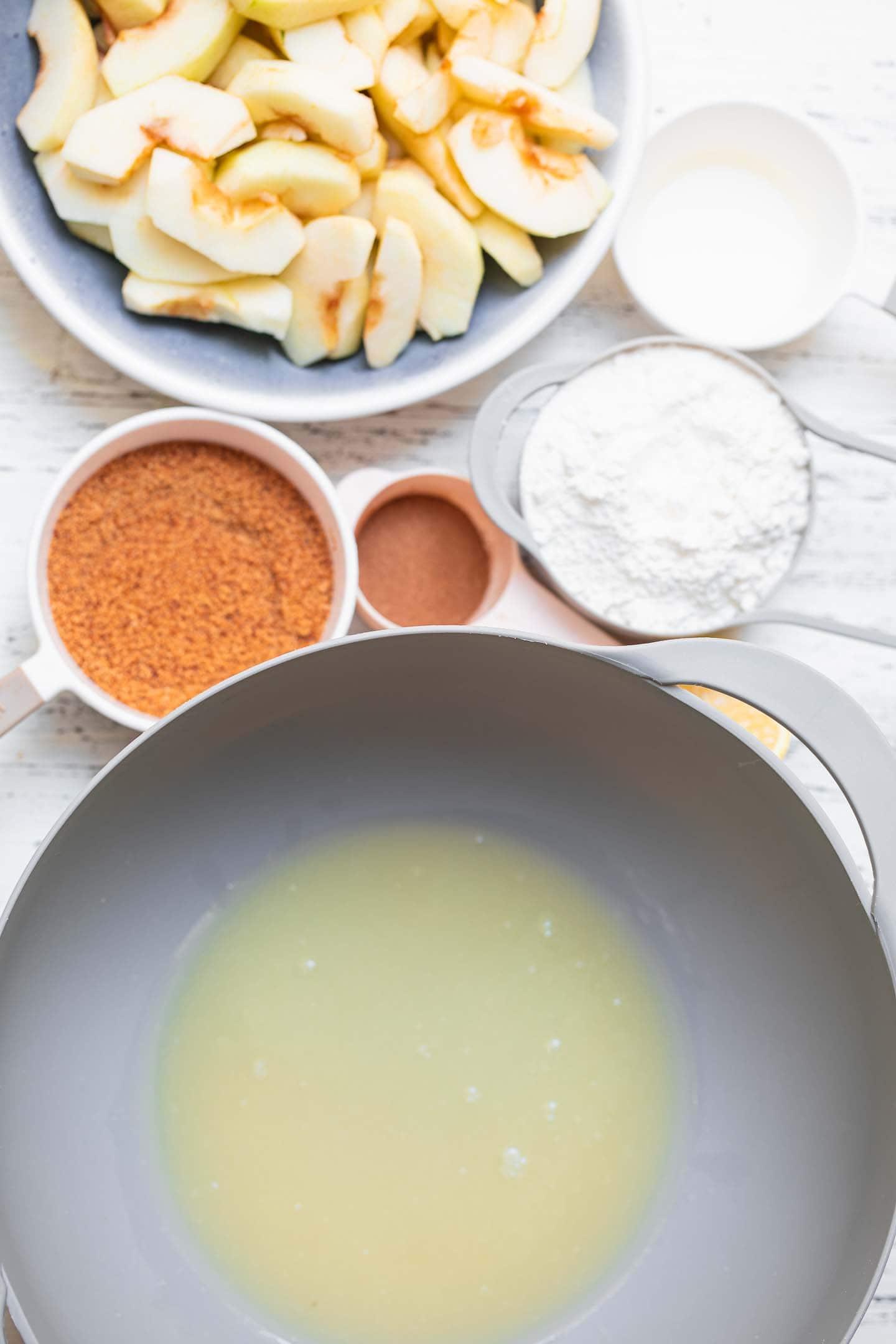 Ingredients for a gluten-free vegan apple cake