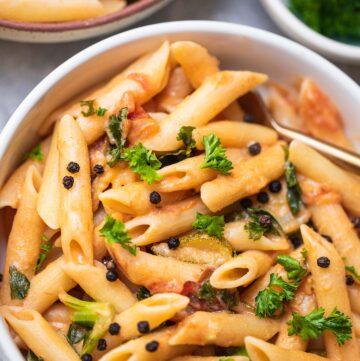 One pot vegan lemon pasta gluten-free