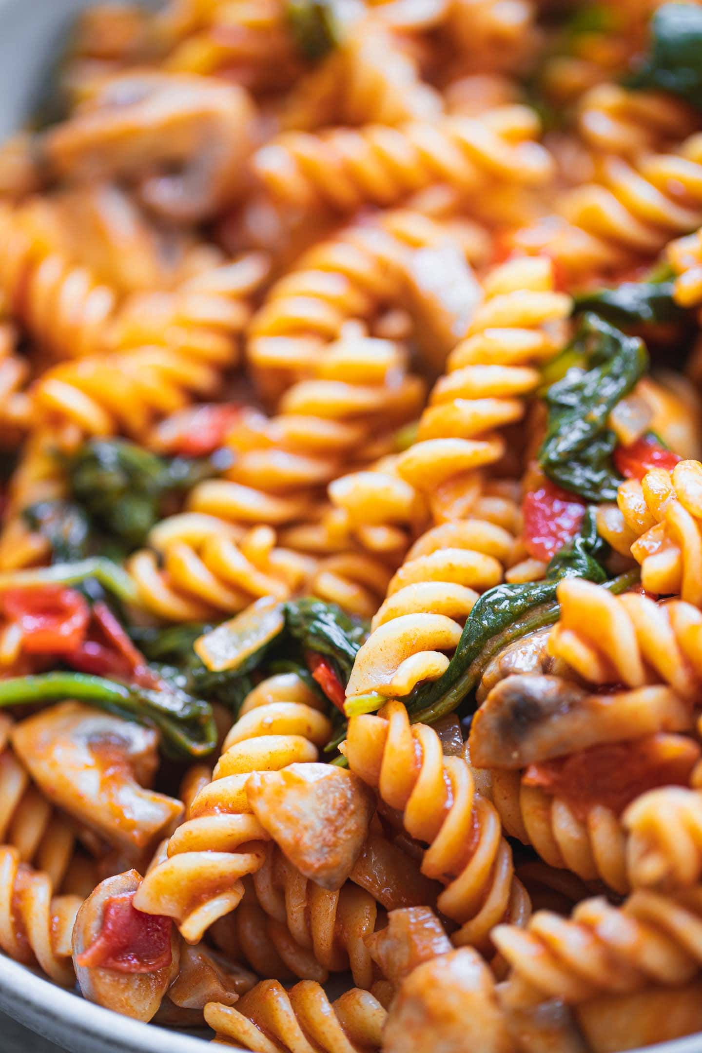 Closeup of vegan pasta with spinach