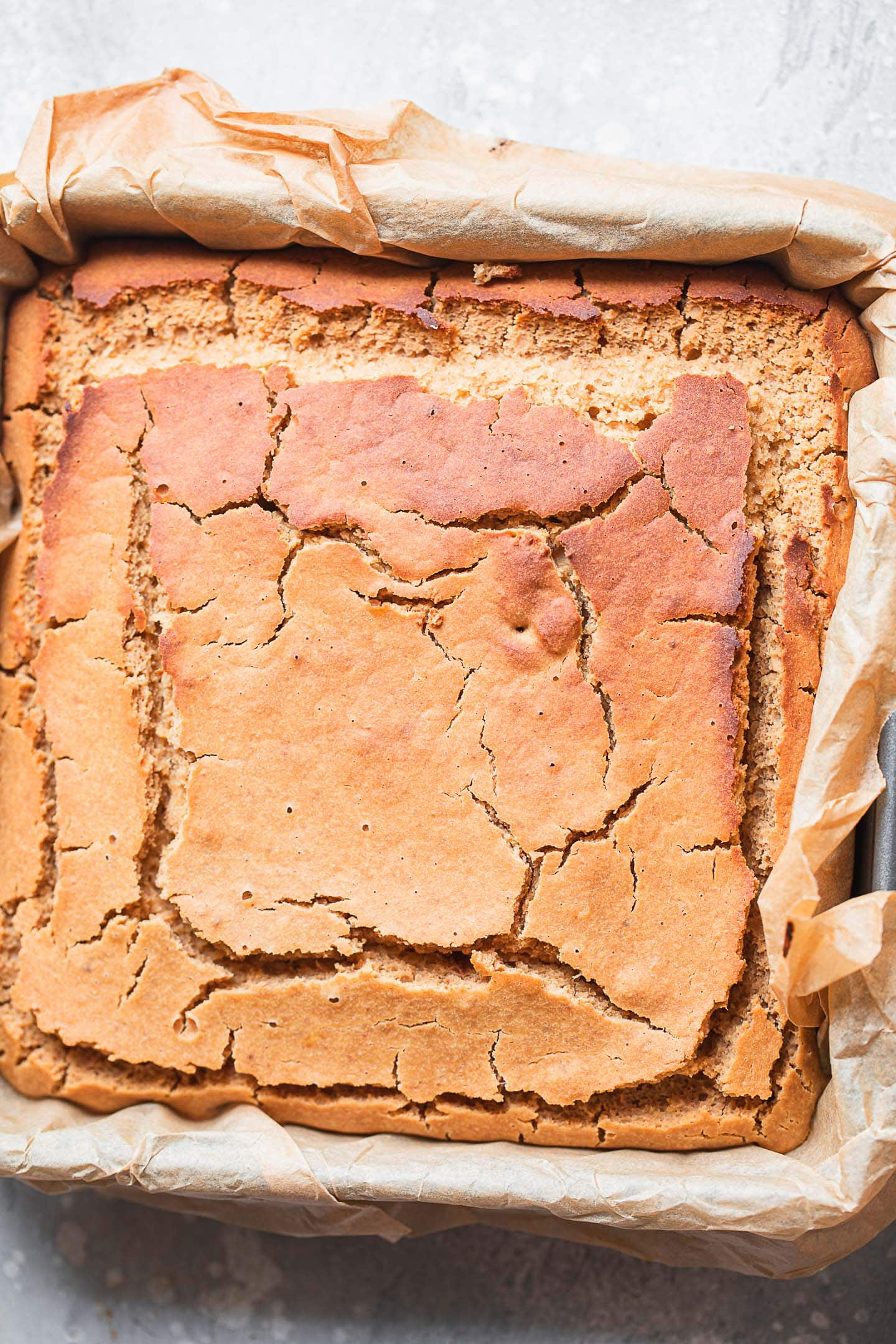 Vegan cake in a square tin