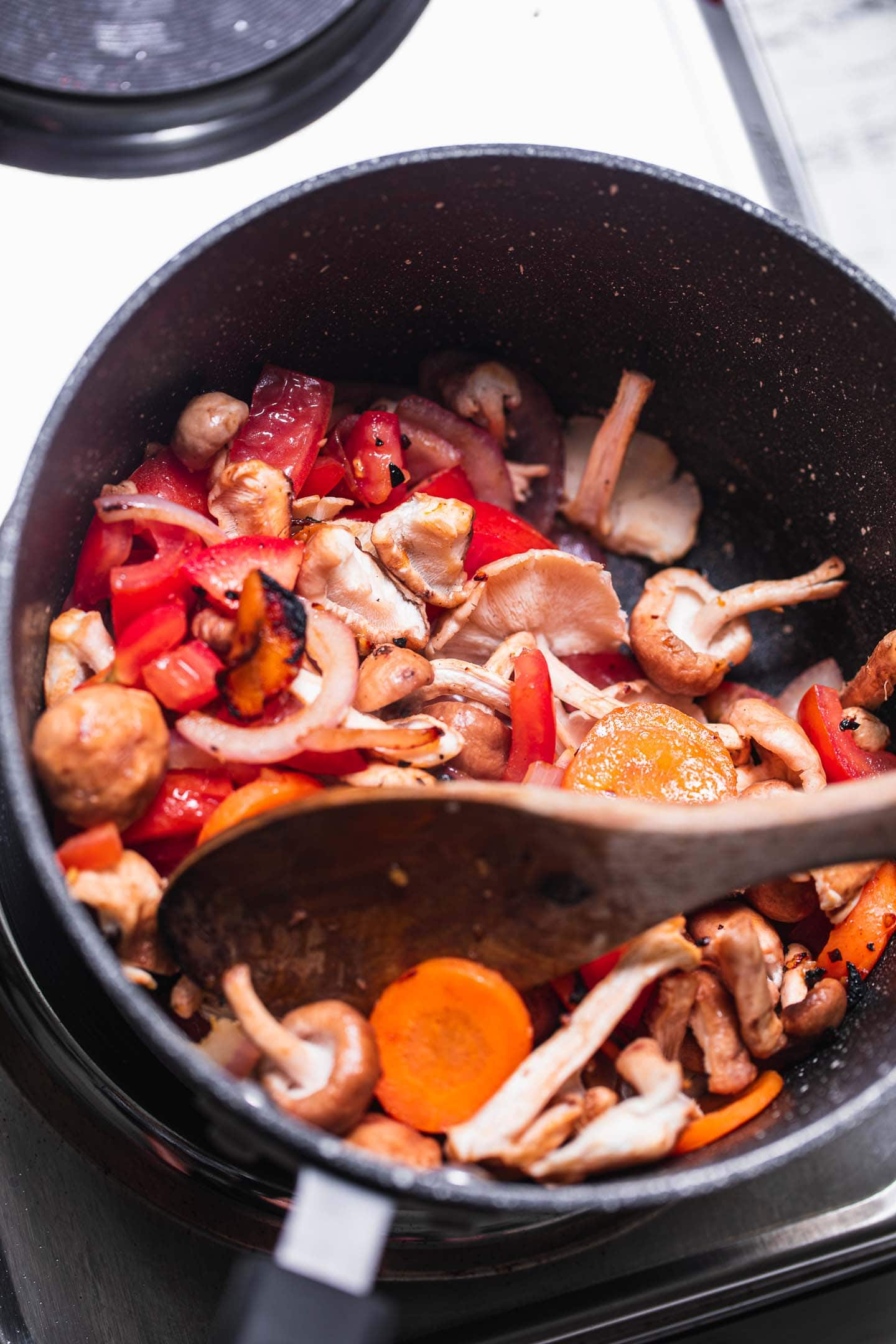 Vegetables in a saucepan