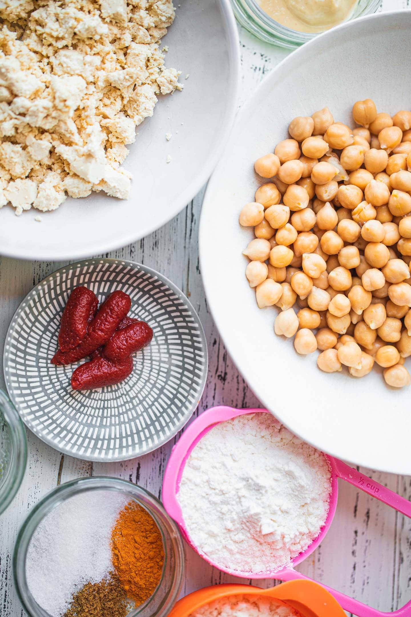 Ingredients for vegan chicken nuggets