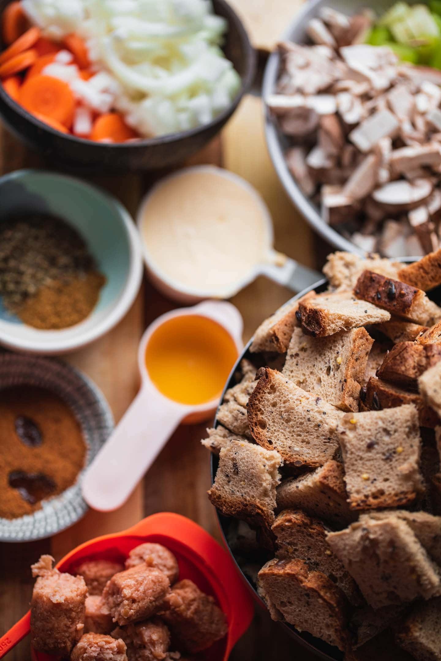 Ingredients for vegan stuffing