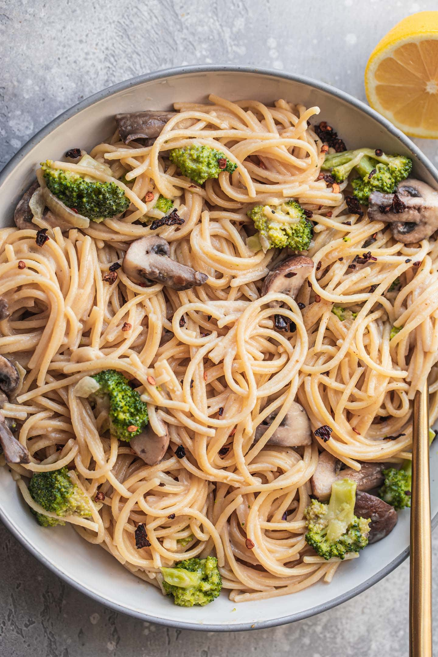 Pasta with a coconut sauce and broccoli