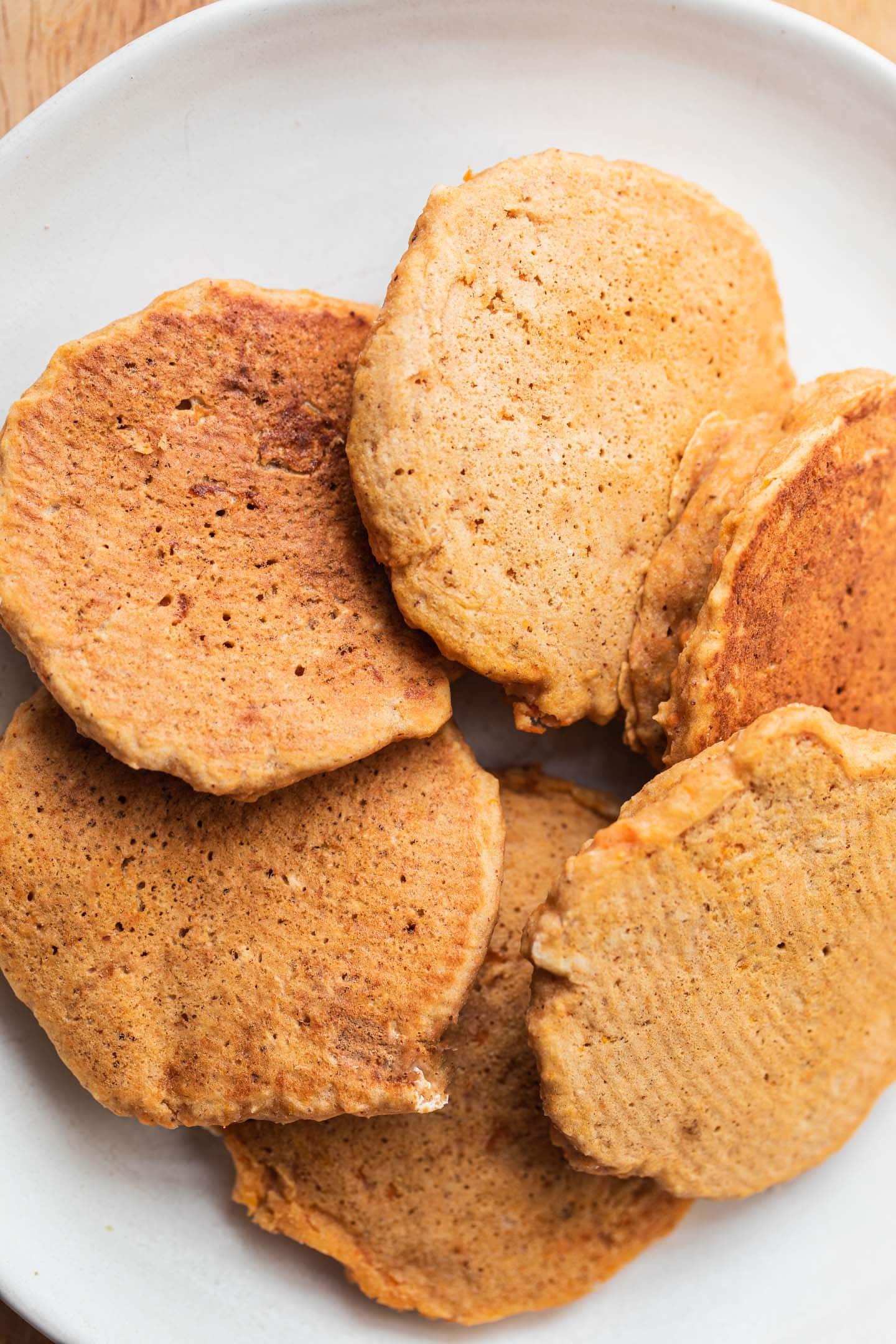 Plain pumpkin pancakes on a plate