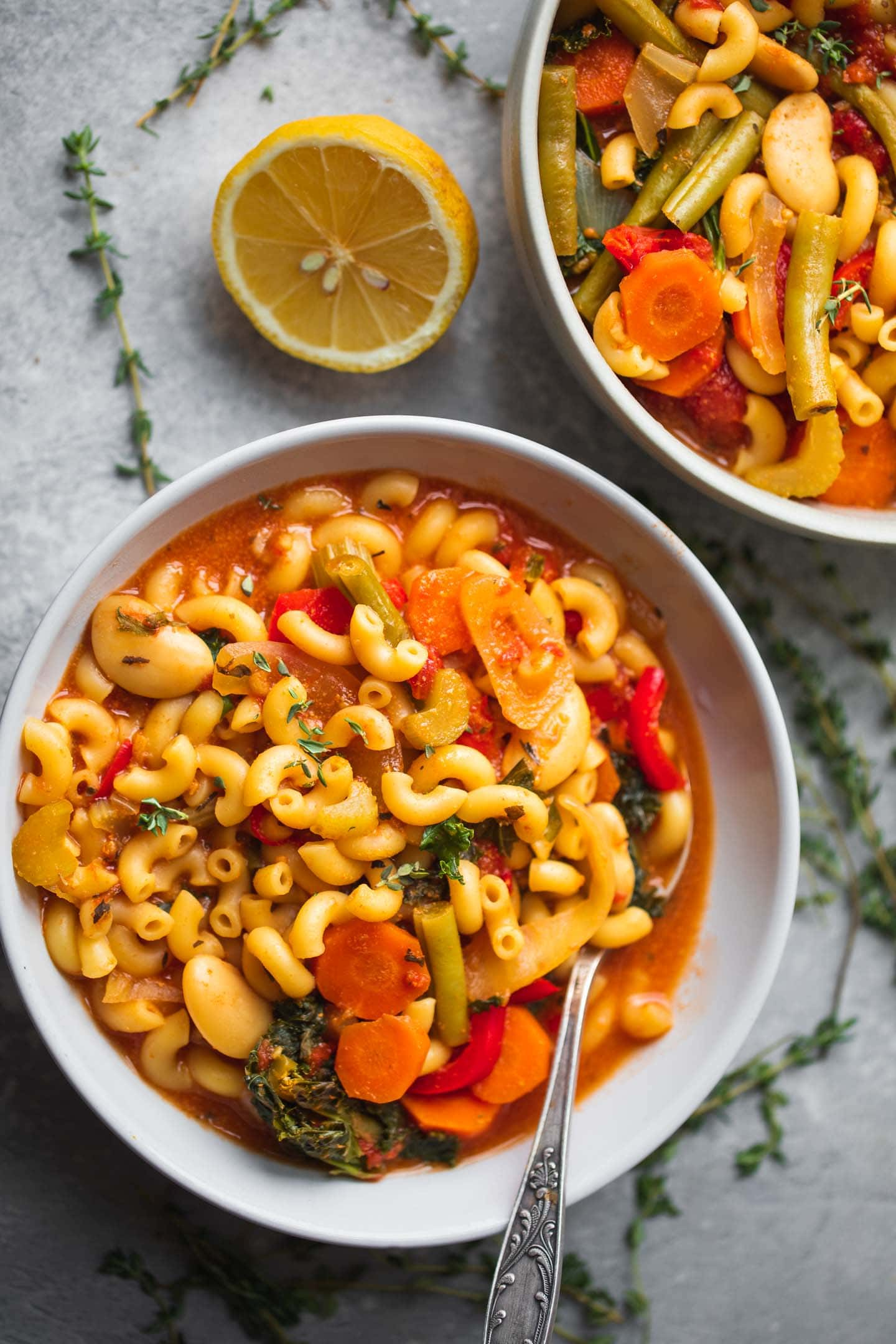 Bowl of soup with pasta and butter beans