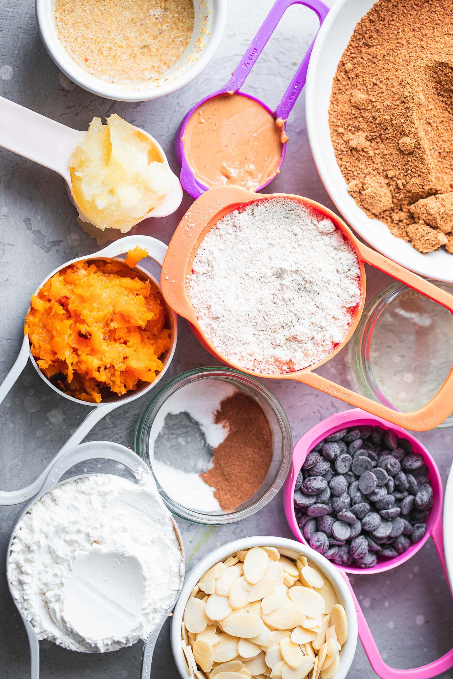 Ingredients for gluten-free vegan pumpkin muffins