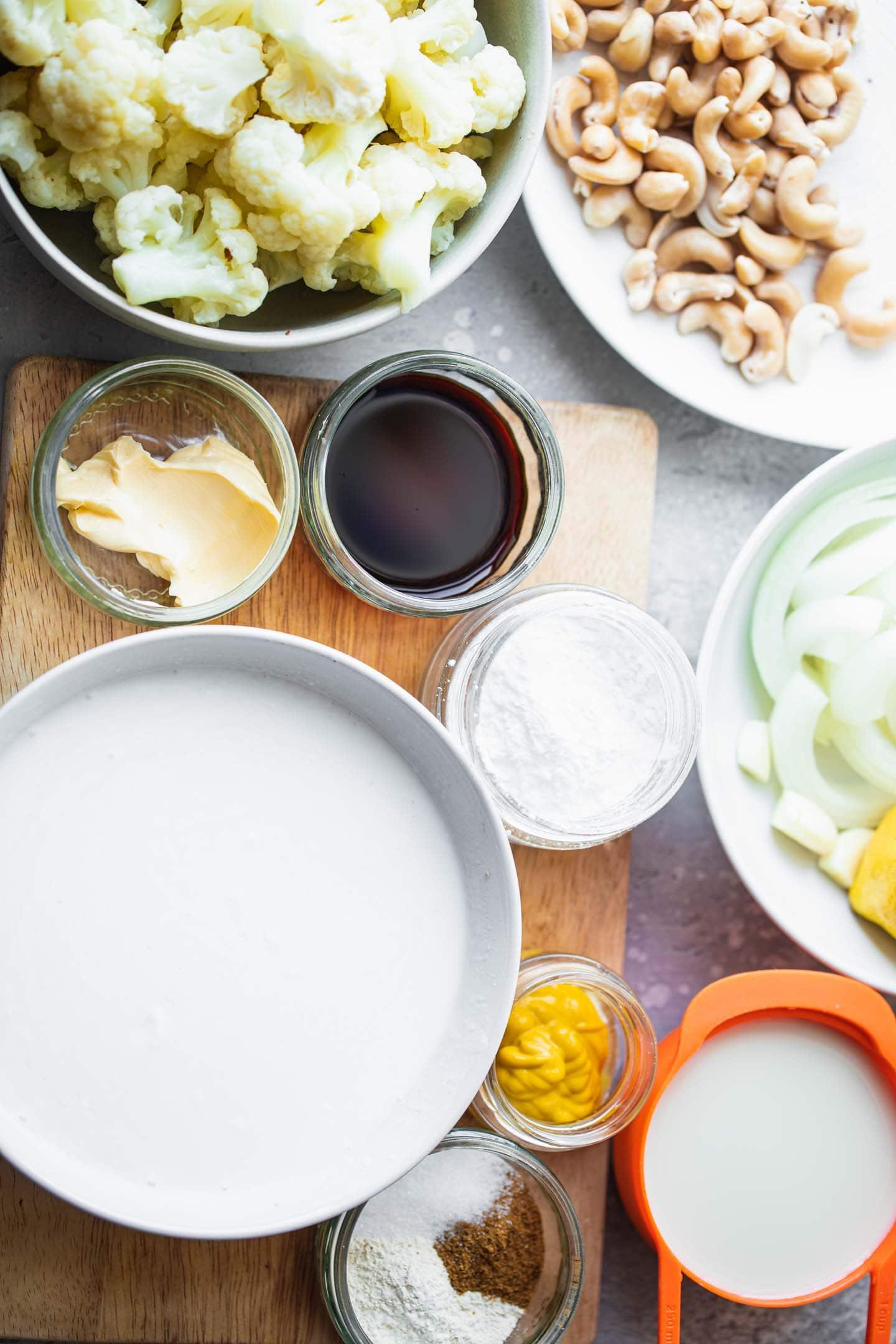 Ingredients for vegan cauliflower cheese