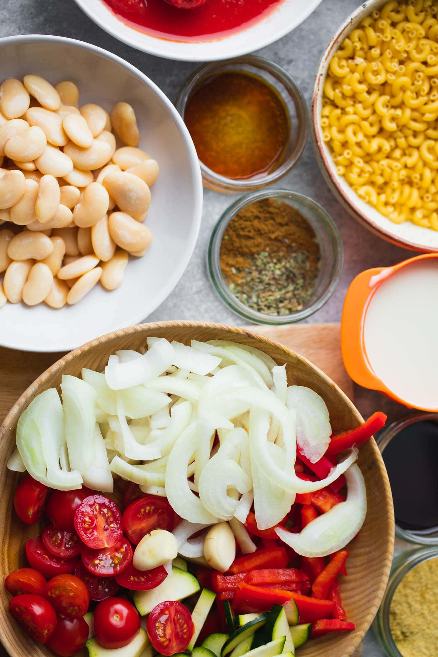 Ingredients for vegan minestrone soup