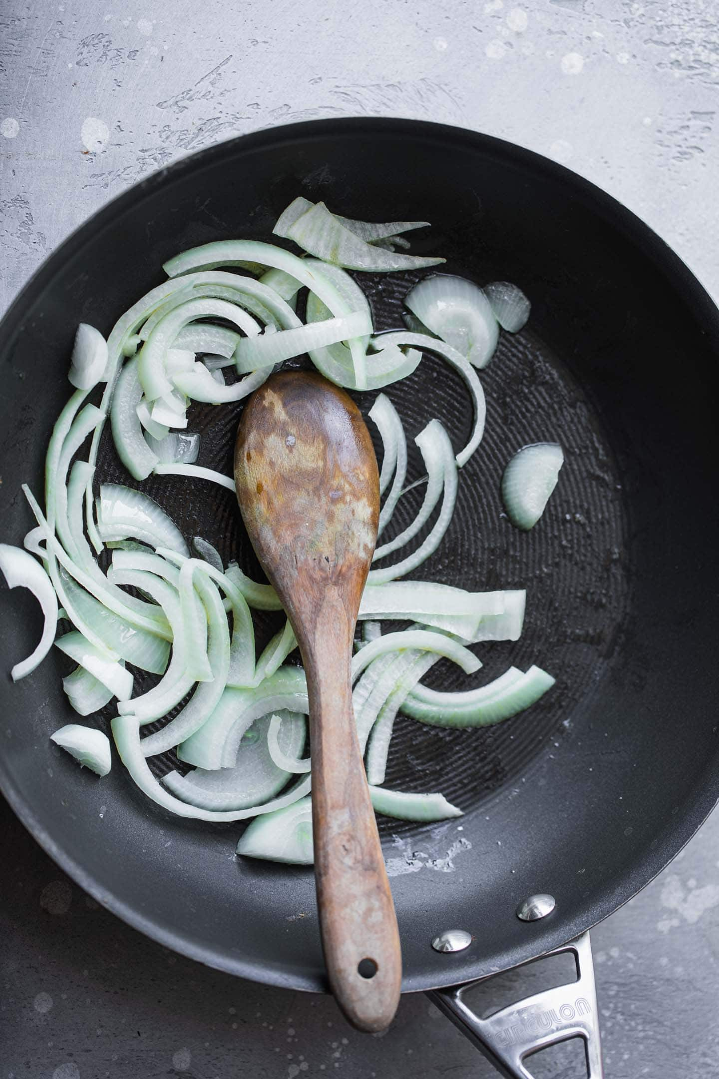 Onions in a frying pan