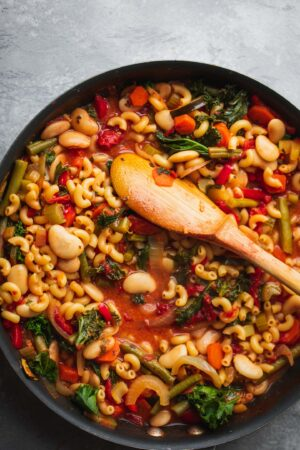 Soup with pasta and vegetables in a pan