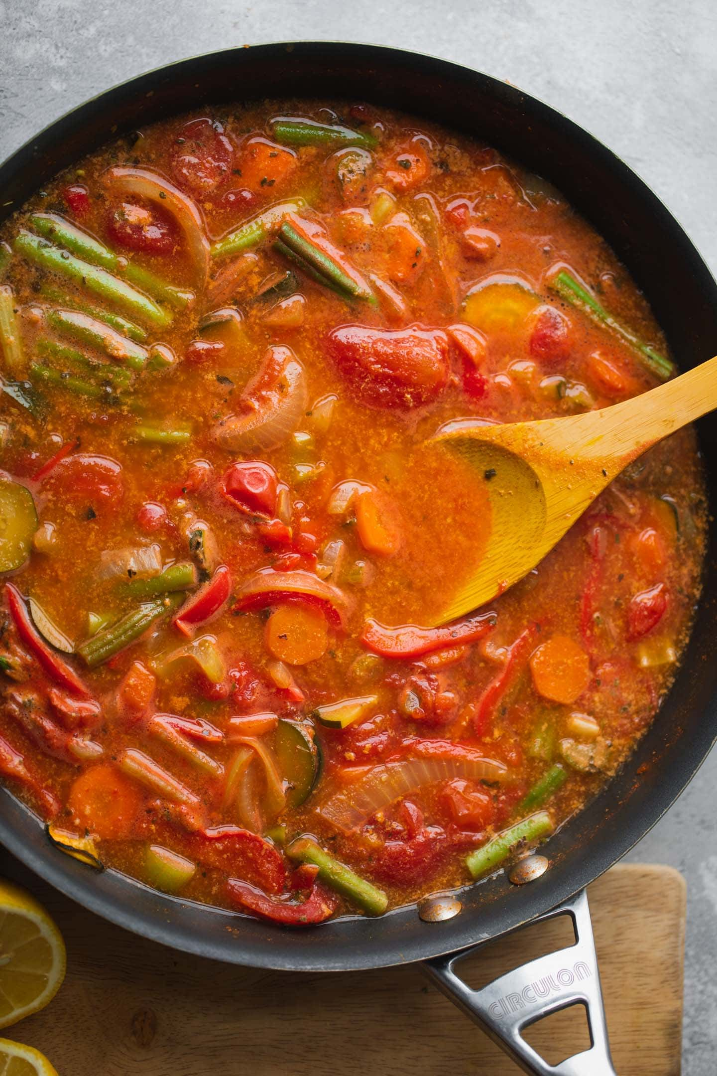 Soup with vegetables in a large pan