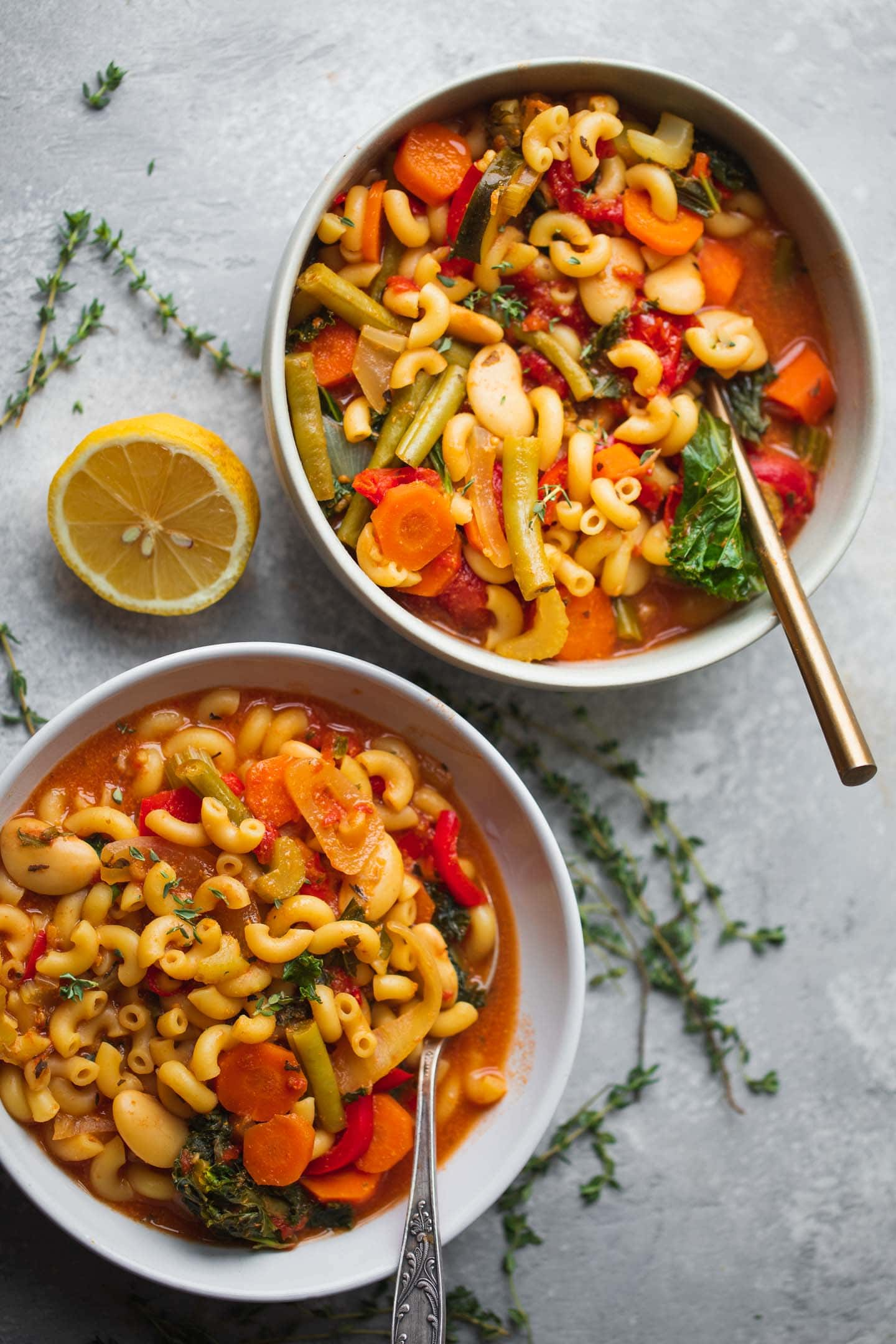 Two bowls of vegan minestrone soup