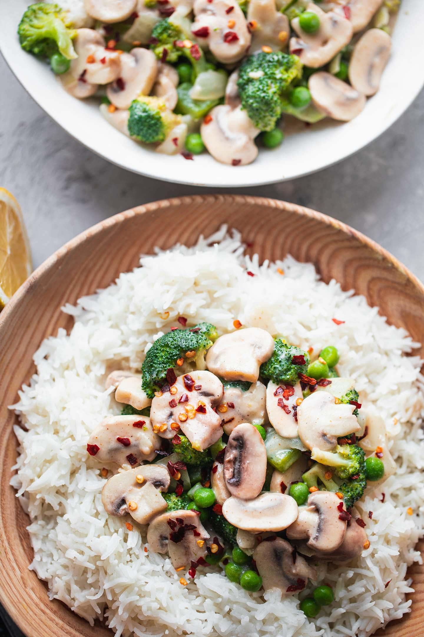 Two bowls of vegan mushroom stroganoff