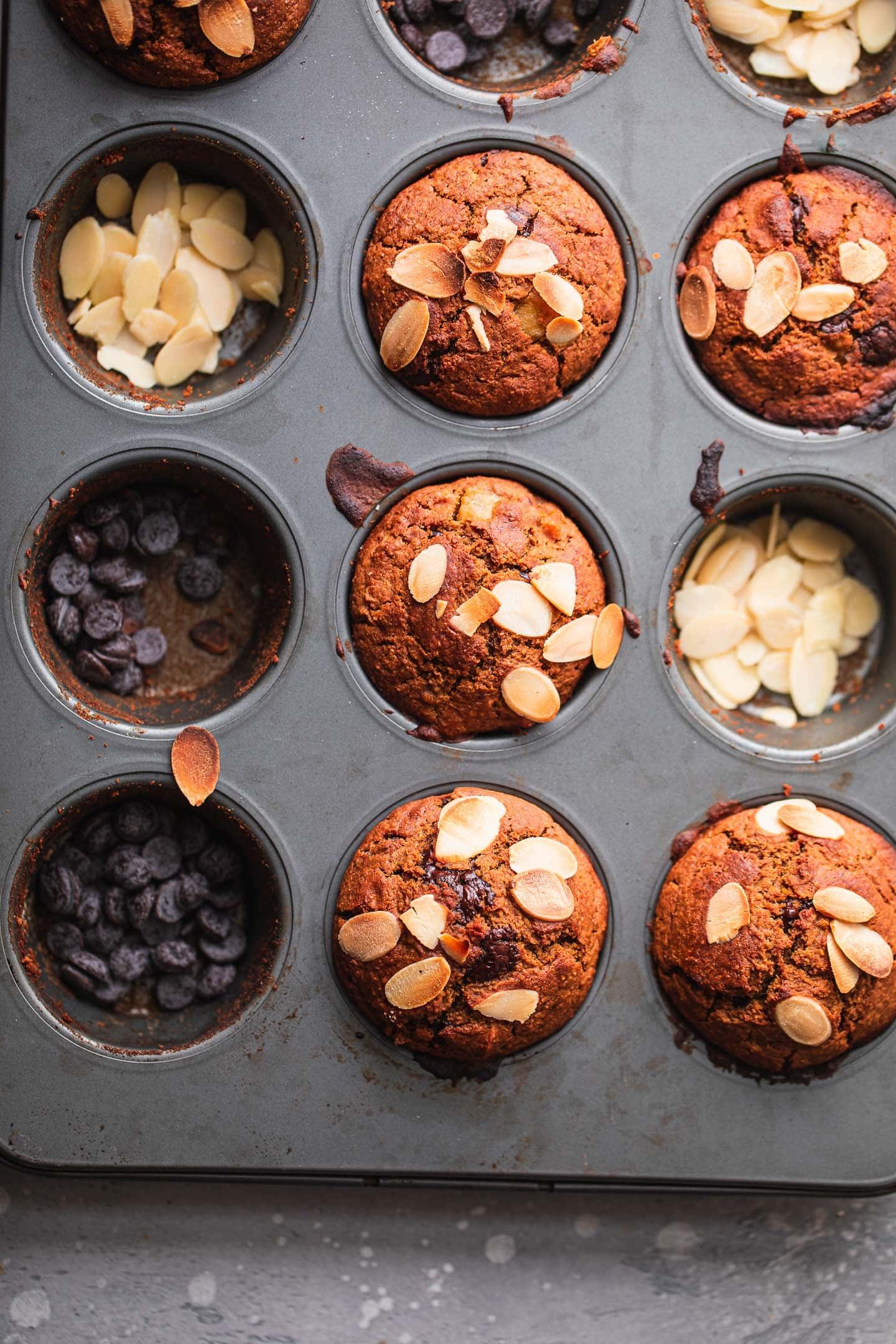 Vegan muffins in a muffin tray