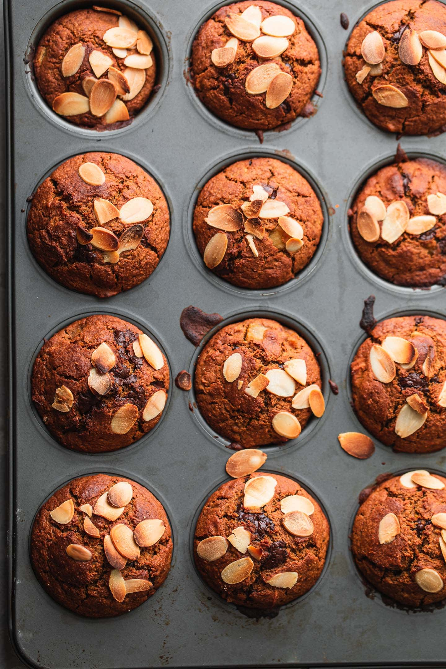 Vegan muffins in a tray